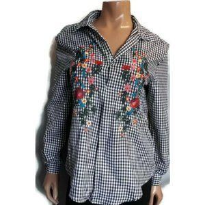 🍁 Another Story Embroidered Gingham Button Shirt